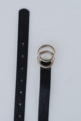 Flat Lay of a Skinny Double Buckle Belt