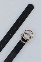 Close Up of a Skinny Double Buckle Belt