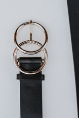 Close Up of a Double Buckle Belt in Black