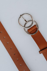 Close Up of a Double Buckle Belt in Cognac