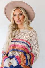 Ivory - Striped Loose Knit Sweater from Dress Up