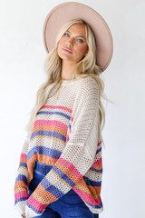 Striped Loose Knit Sweater Side View