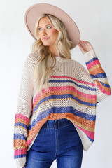 Striped Loose Knit Sweater Front View