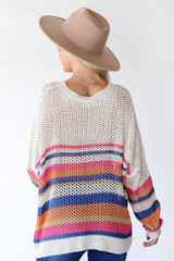 Striped Loose Knit Sweater Back View