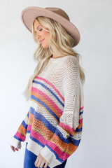 Striped Loose Knit Sweater Side View on model