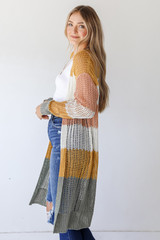 Striped Loose Knit Cardigan Side View