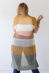 Striped Loose Knit Cardigan Back View
