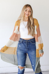 Striped Loose Knit Cardigan Front View