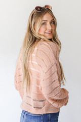 Loose Knit Sweater Side View on model