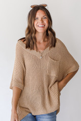 Taupe - Loose Knit Sweater from Dress Up