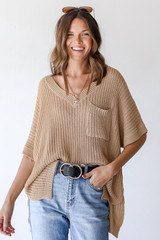 Loose Knit Sweater Front View
