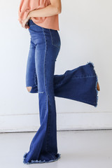 Flare Jeans Side View on model