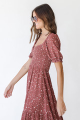 Floral Dress in Marsala Side View