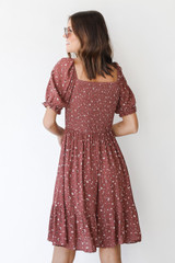 Floral Dress in Marsala Back View
