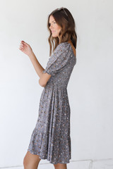Floral Dress in Grey Side View