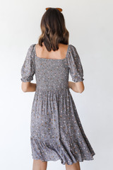 Floral Dress in Grey Back View