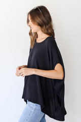 Ribbed Knit Tunic in Black Side View