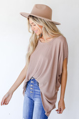 Ribbed Knit Tunic in Mocha Side View