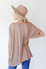 Ribbed Knit Tunic in Mocha Back View