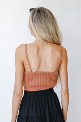 Cropped Sweater Tank in Rust Back View