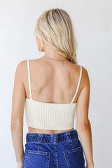 Cropped Sweater Tank in Ivory Back View