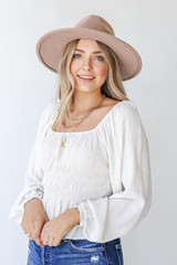 Natural - Smocked Blouse from Dress Up