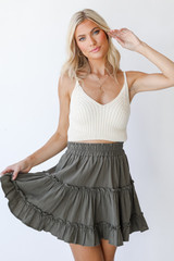 Olive - Tiered Mini Skirt Front View