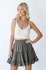 Olive - Tiered Mini Skirt Front View on model