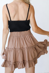 Tiered Mini Skirt in Mocha Back View
