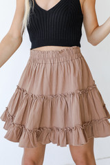 Tiered Mini Skirt in Mocha Front View