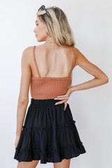 Tiered Mini Skirt in Black Back View