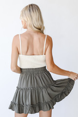 Tiered Mini Skirt in Olive Back View