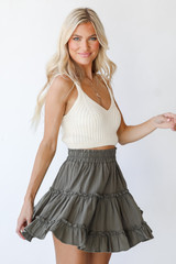 Tiered Mini Skirt in Olive Side View
