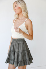 Tiered Mini Skirt in Olive Side View on model