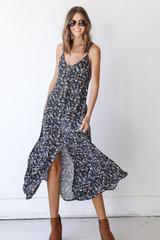 Charcoal - Floral Maxi Dress from Dress Up