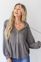 Charcoal - Waffle Knit Babydoll Hoodie from Dress Up