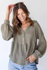 Olive - Dress Up model wearing a Waffle Knit Babydoll Hoodie