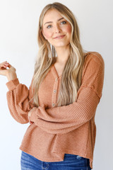 Camel - Waffle Knit Babydoll Hoodie Front View on model