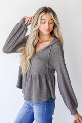 Waffle Knit Babydoll Hoodie in Charcoal Side View
