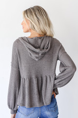 Waffle Knit Babydoll Hoodie in Charcoal Back View
