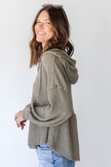 Waffle Knit Babydoll Hoodie in Olive Side View