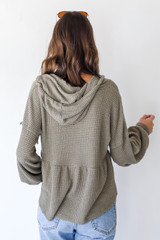 Waffle Knit Babydoll Hoodie in Olive Back View