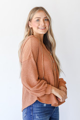 Waffle Knit Babydoll Hoodie in Camel Side View
