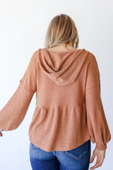 Waffle Knit Babydoll Hoodie in Camel Back View
