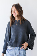 Blue - Sweater Front View on model
