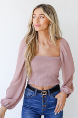 Blush - Smocked Crop Top Front View
