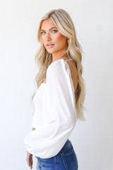 Smocked Crop Top in Ivory Side View