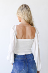 Smocked Crop Top in Ivory Back View