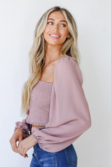 Smocked Crop Top in Blush Side View
