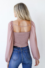 Smocked Crop Top in Blush Back View